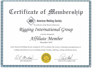 Certificate of membership, American Welding Society; Rigging International Group.