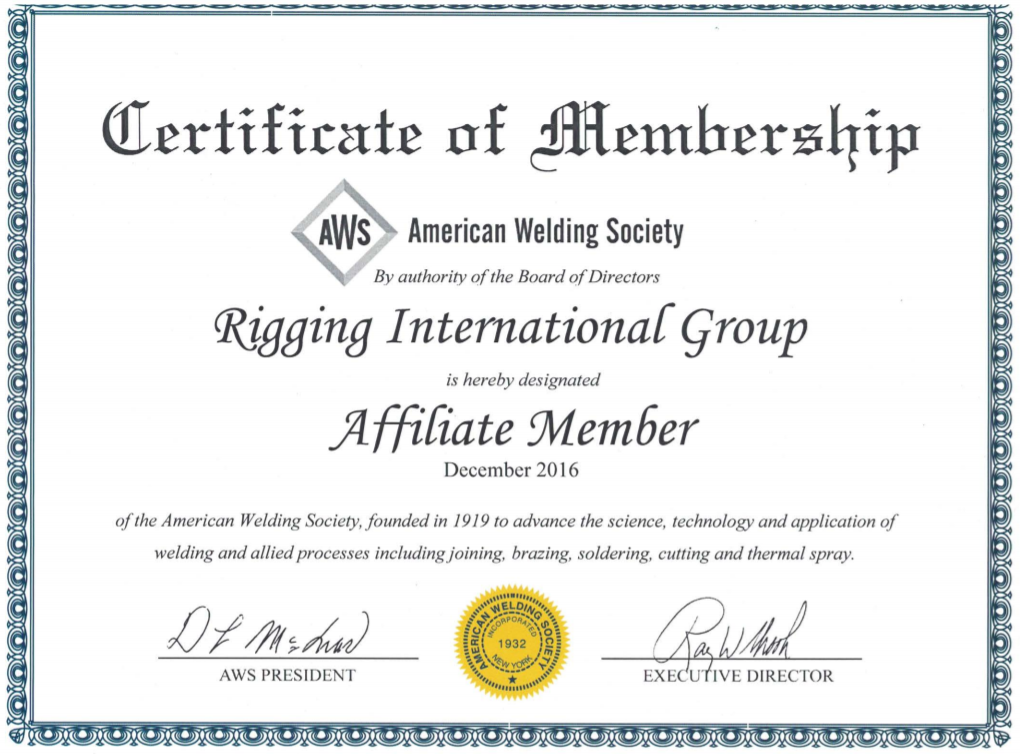 American Welding Society Member Rigging International Group