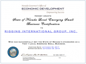 State of Nevada Local Emerging Small Business Certification: Rigging International Group.